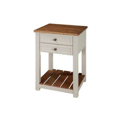 Savannah 2-Drawer End Table, Ivory with Natural Wood Top