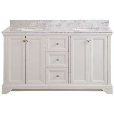 Stratfield 61 in. W x 22 in. D Bathroom Vanity in Cream with Stone Effect Vanity Top in Winter Mist with White Sink
