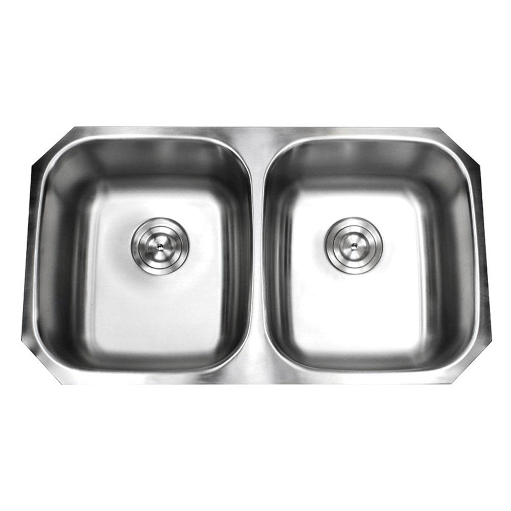 Undermount Stainless Steel 32-1/4 in. x 18-1/2 in. x 9 in. 16-Gauge 50/50 Double Bowl Kitchen Sink with Satin Pearl