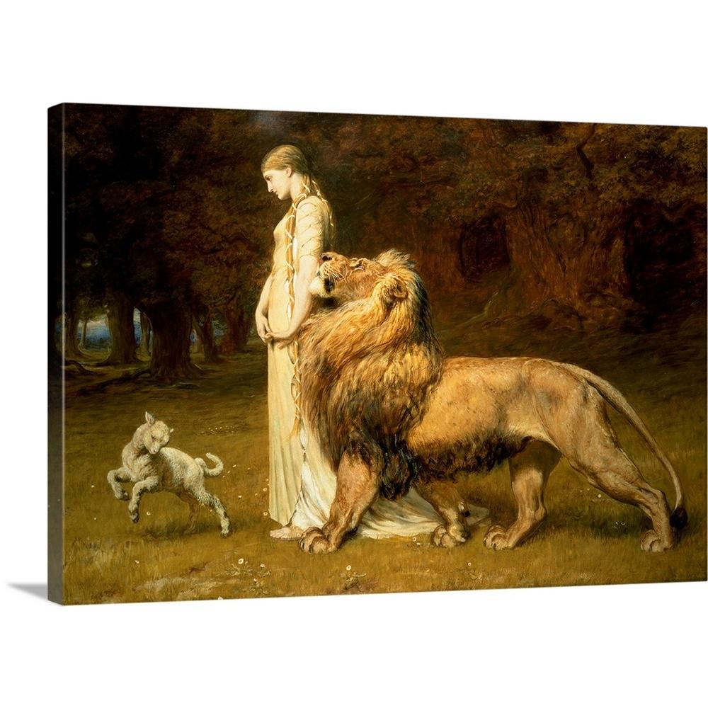Una and the lion from spensers faerie queene 1880 by briton 1840 1920 riviere canvas wall art