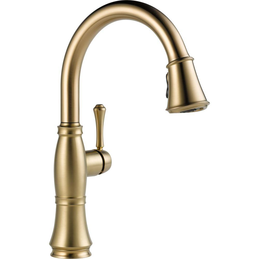 Cassidy single handle pull down sprayer kitchen faucet in champagne bronze