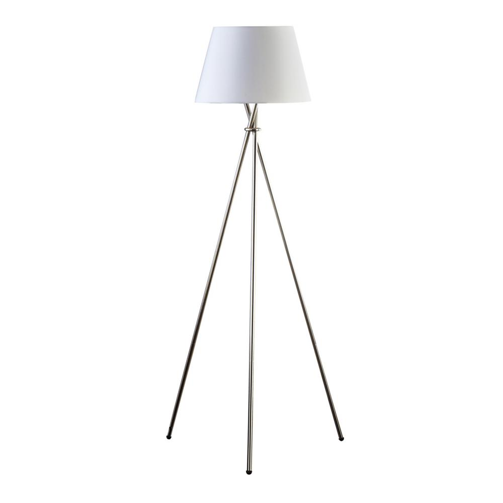 59 in. Brushed Steel Finish Tripod Floor Lamp with White Fabric