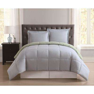 Everyday Light Blue and Sage Reversible Twin XL Comforter Set