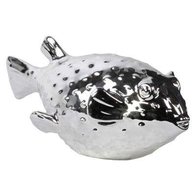 4 in. H Fish Decorative Figurine in Gray Polished Chrome Finish
