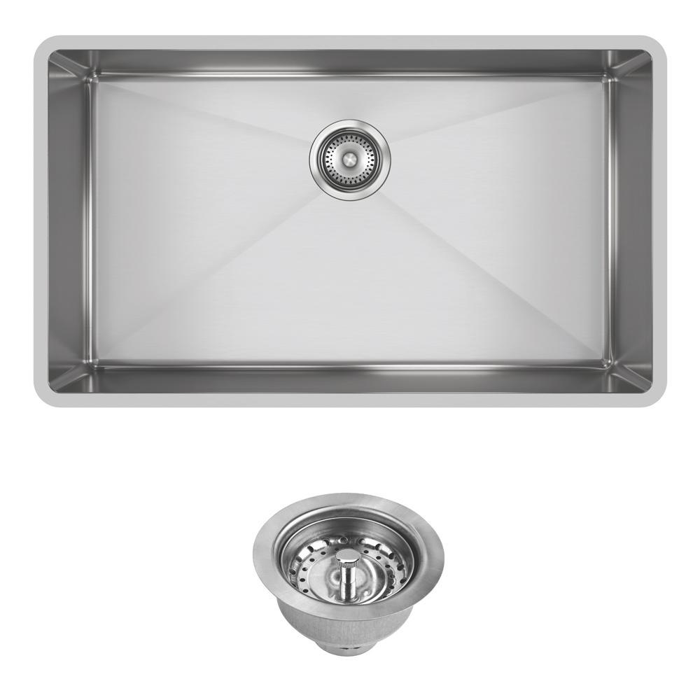 Crosstown Undermount Stainless Steel 32 in. Single Bowl Kitchen Sink with Drain