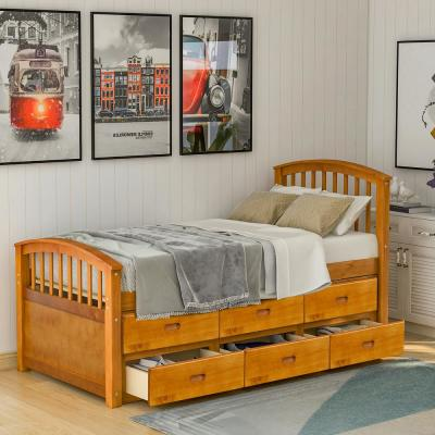 Oak Twin Size Solid Wood Platform Bed with 6-Drawers