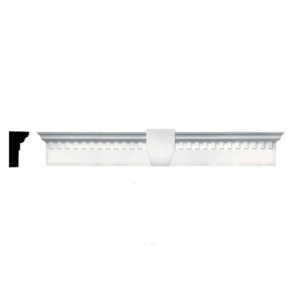 Builders Edge 6 in. x 37 5/8 in. Classic Dentil Window Header with Keystone in 117 Bright White