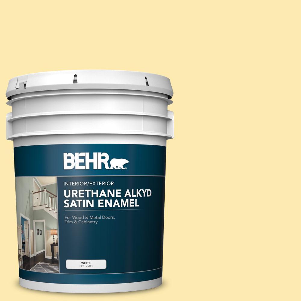 BEHR 5 gal  #360A-3 Banana Split Urethane Alkyd Satin Enamel  Interior/Exterior Paint