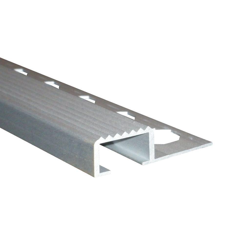 Novopeldano 4 Matt Silver 3/8 in. x 98-1/2 in. Aluminum Stair Nosing Trim