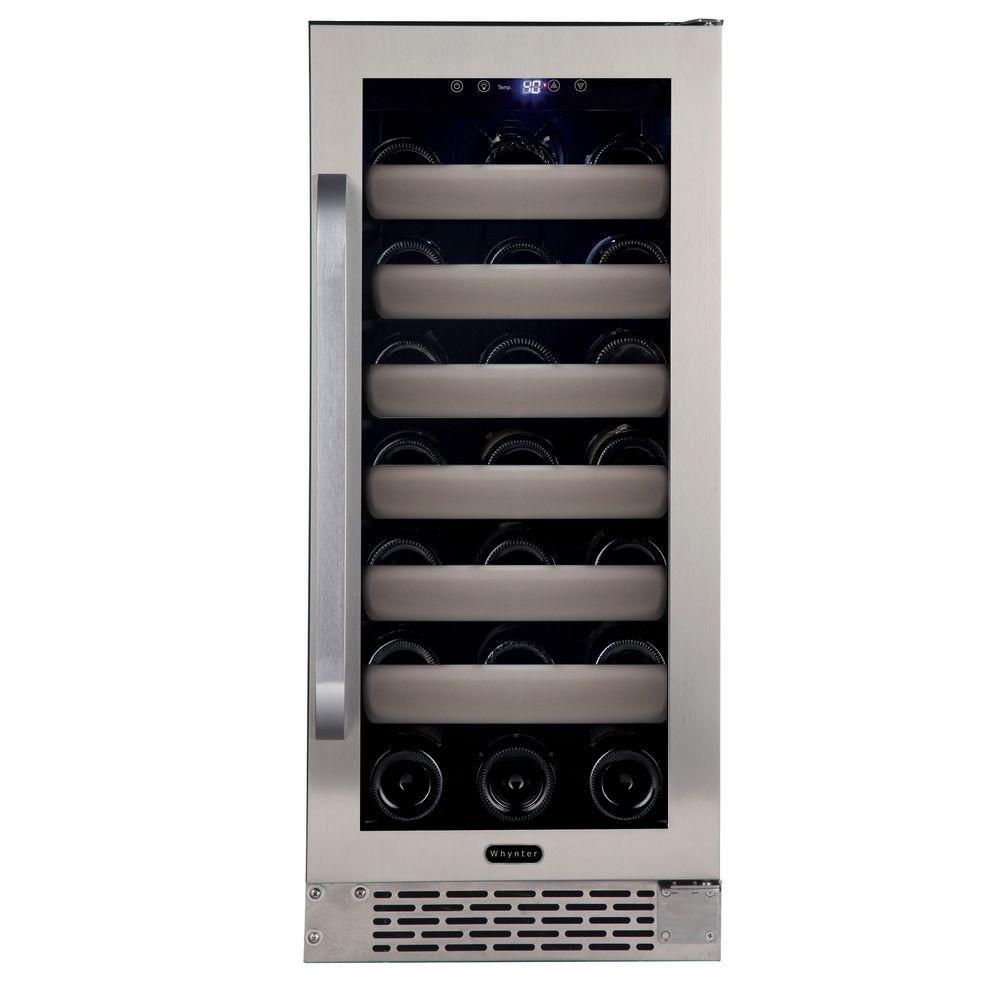 Elite 33-Bottle Seamless Stainless Steel Door Single Zone Built-In Wine Refrigerator