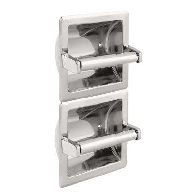 Recessed Double Roll Vertical Toilet Paper Holder in Bright Stainless