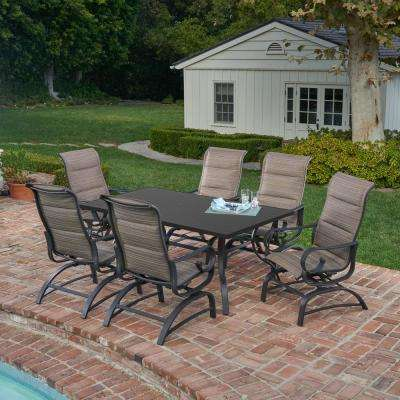 Delightful River Oak 7 Piece Outdoor Dining Set With Padded Sling
