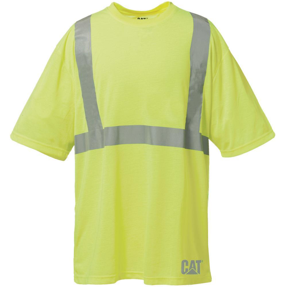 b0eff3bee2bfbd Caterpillar Hi-Vis Men s X-Large Yellow Polyester Short Sleeved T-Shirt