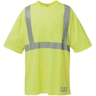 Hi-Vis Men's X-Large Yellow Polyester ANSI Class 2 Short Sleeved T-Shirt