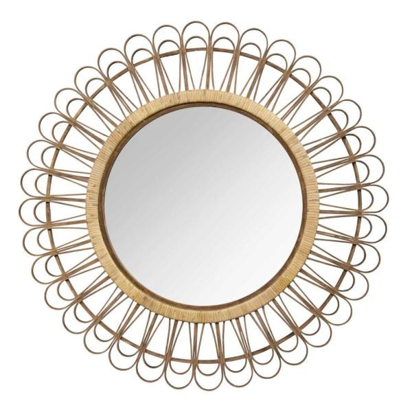 Victoria 34 in. x 34 in. Classic Round Framed Brown Vanity Mirror