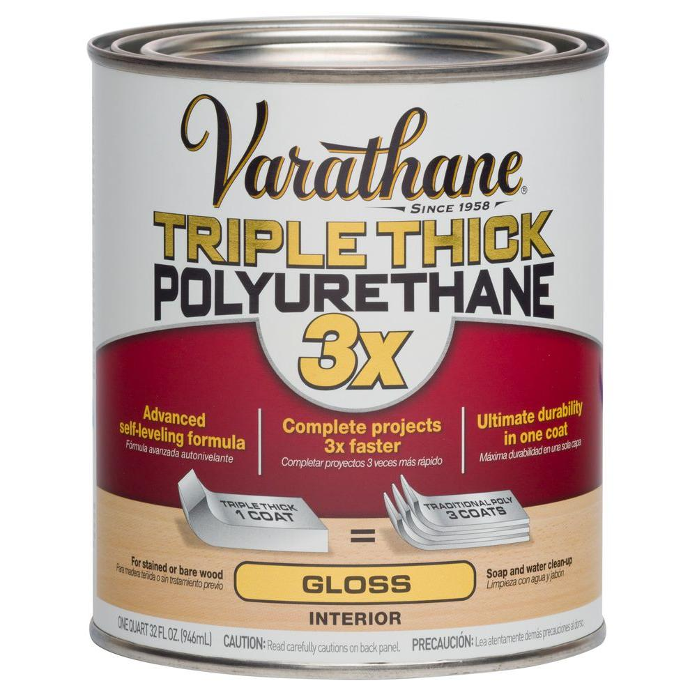 Varathane 1 qt gloss triple thick polyurethane case of 2 281541 the home depot for Varathane water based exterior polyurethane