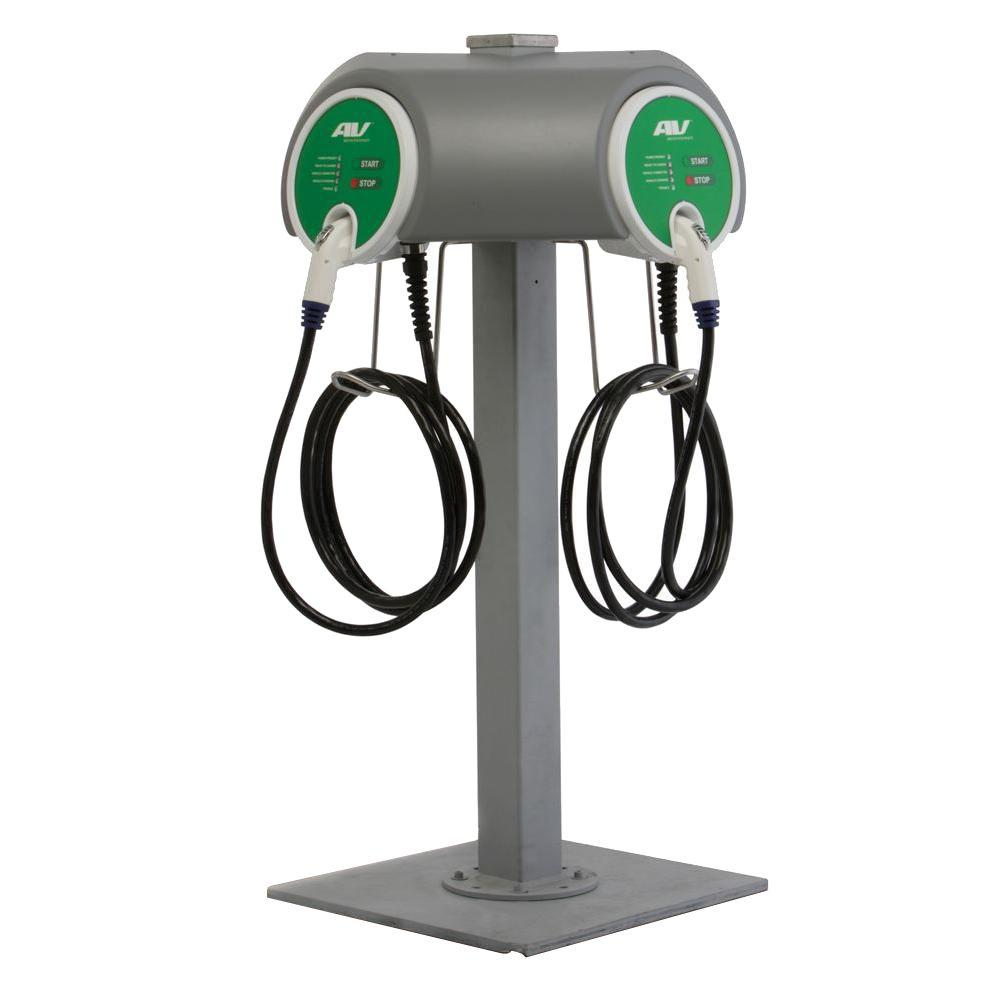 AeroVironment Dual Pedestal 32 Amp Level 2 EV Charging Stations with 25 ft. Cable
