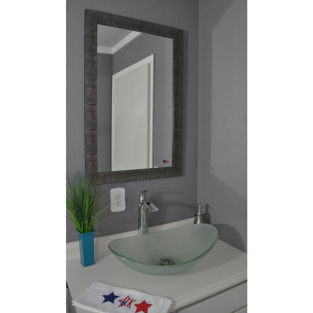 36 in. x 30 in. Safari Silver Non Beveled Vanity Wall Mirror