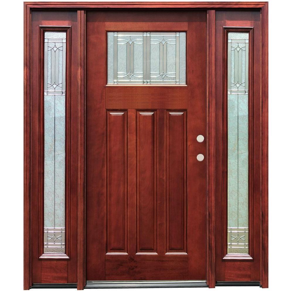 Diablo Craftsman 1 Lite Stained Mahogany Wood Prehung Front Door w/ 6 in. Wall Series & 12 in. Sidelites