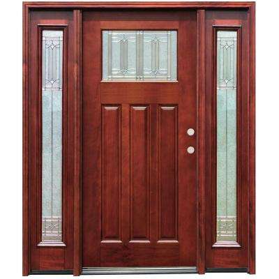 Diablo Craftsman 1 Lite Stained Mahogany Wood Prehung Front Door w/ 6 in. Wall Series & 14 in. Sidelites