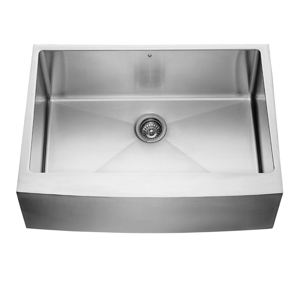 vigo farmhouse apron front 30 in  single bowl kitchen sink in stainless steel vgr3020c   the home depot vigo farmhouse apron front 30 in  single bowl kitchen sink in      rh   homedepot com