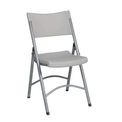 Resin Light Gray Folding Chair with Contoured Seat (4-Pack)