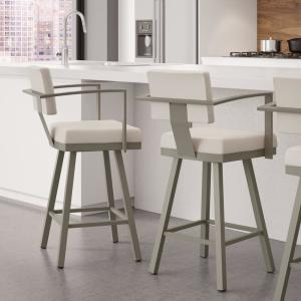 Excellent Akers 26 In Matt Light Grey Metal Beige Polyurethane Counter Stool Creativecarmelina Interior Chair Design Creativecarmelinacom