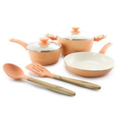 Plaza Cafe 7-Piece Coral Cookware Set