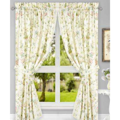 Abigail Multi Polyester/Cotton Tailored Pair Curtains with Ties - 90 in. W x 63 in. L