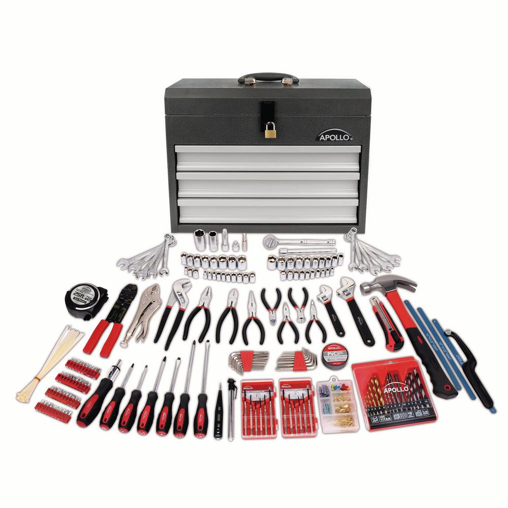 All Purpose Mechanics Tool Kit in Heavy Duty 3 Drawer Steel