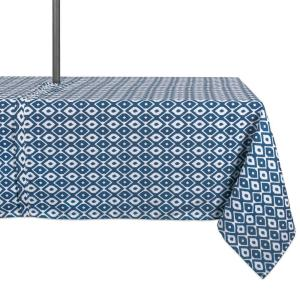 Outdoor 60 in. x 120 in. Blue Ikat Polyester with Zipper Tablecloth