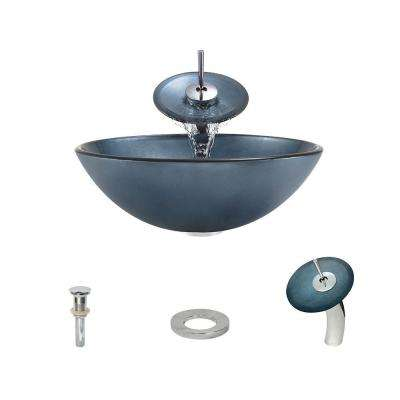 Hand Painted Glass Vessel Sink in Blue with Waterfall Faucet and Pop-Up Drain in Chrome