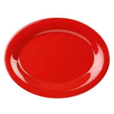 Coleur 9-1/2 in. x 7-1/4 in. Platter in Pure Red (12-Piece)
