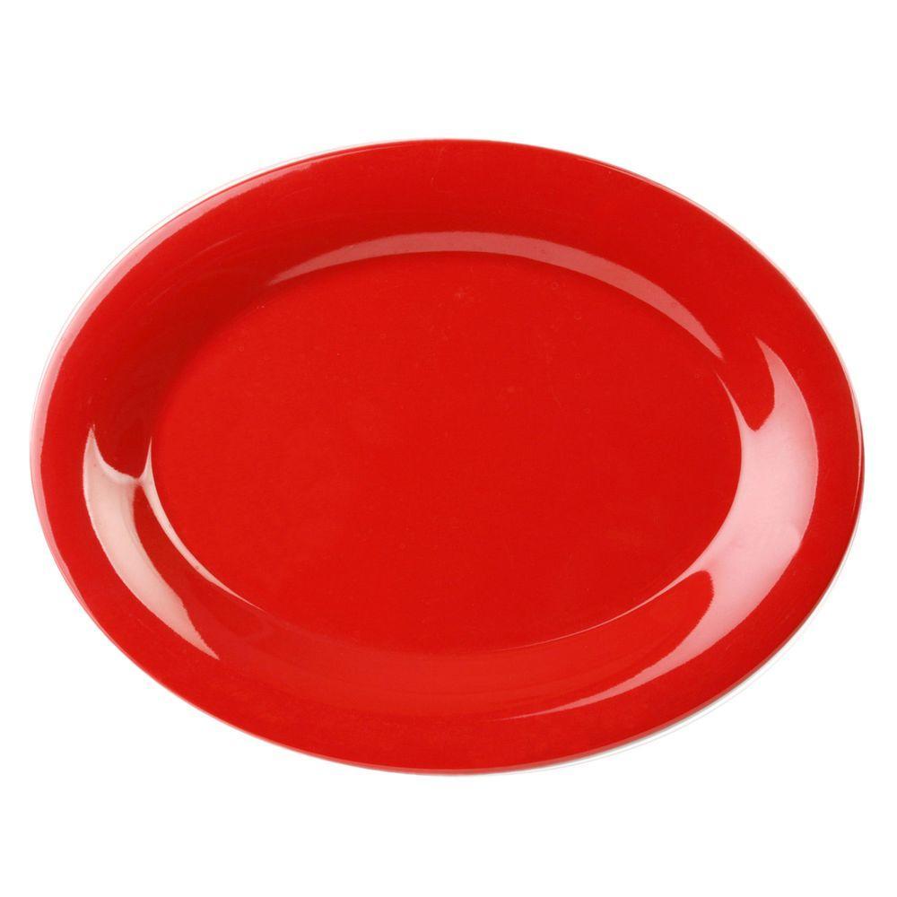 Restaurant Essentials Coleur 9-1/2 inch x 7-1/4 inch Platter in Pure Red (12-Piece) by Restaurant Essentials