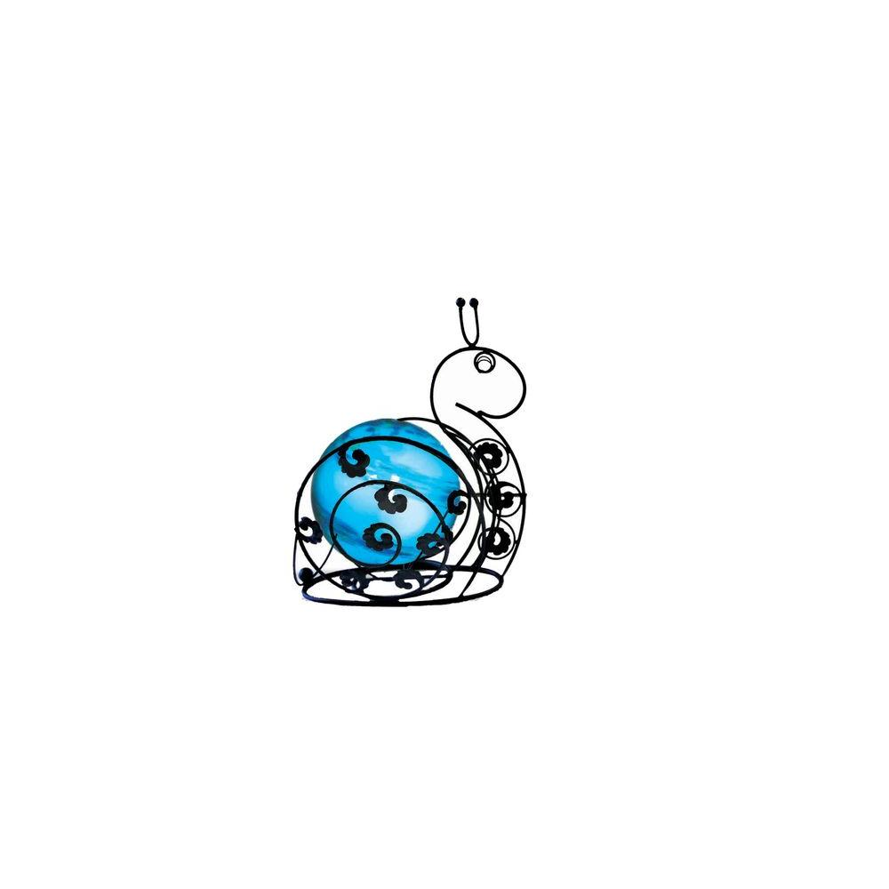 null 8 in. Solar Glass Wire Critter Snail with Blue Light - discontinued