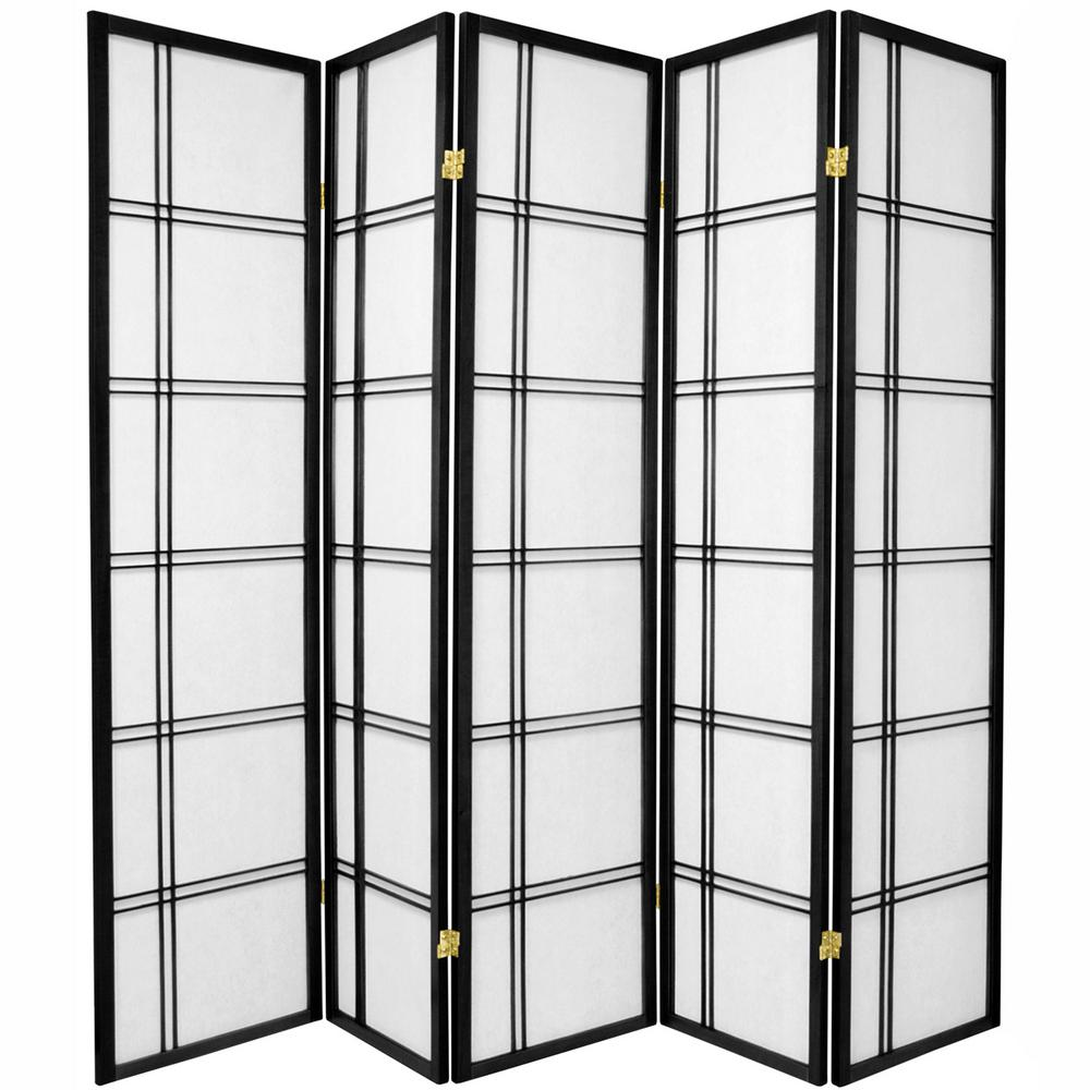 6 ft. Black 5-Panel Room Divider