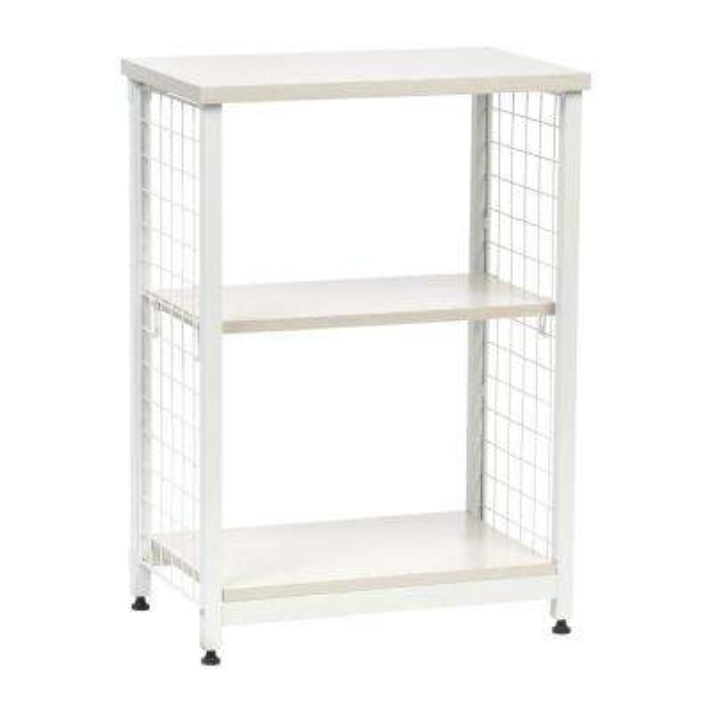 Off-White 2-Tier Open Mesh Wood-Top Shelf