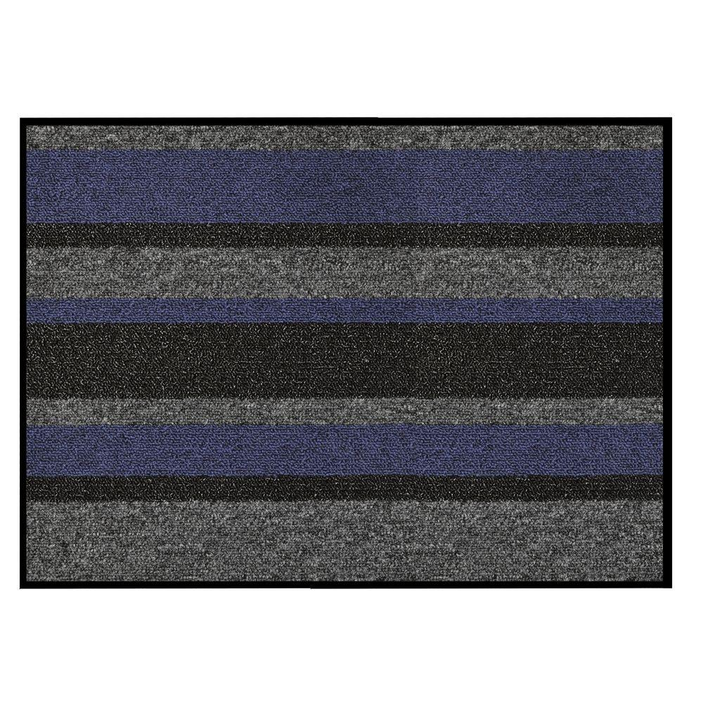 Textura Blue 36 in. x 48 in. Vinyl-Backed Entrance Mat