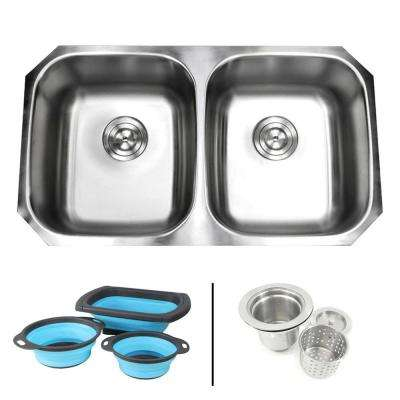 Undermount 16-Gauge Stainless Steel 32-1/4 in. 50/50 Double Bowl Kitchen Sink in Satin Pearl with Silicone Colanders