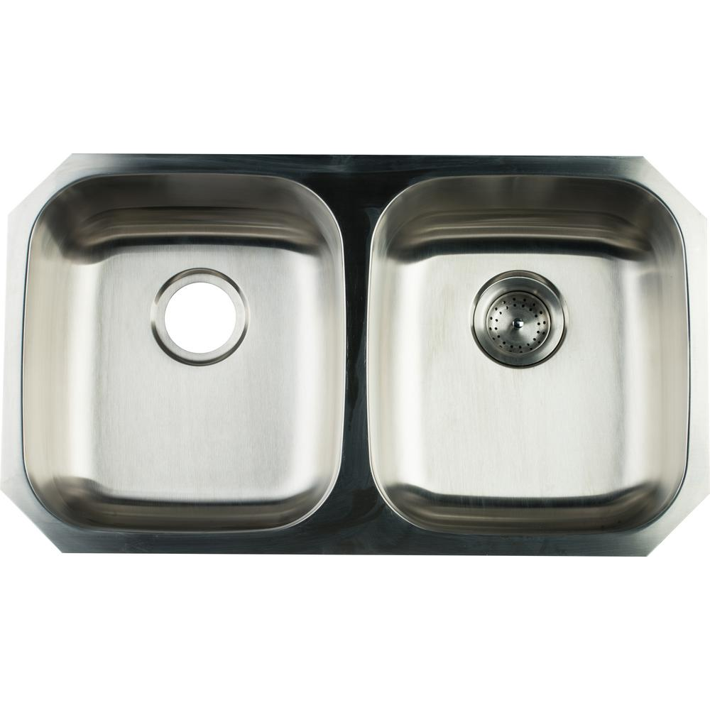 glacier bay undermount stainless steel 32 in double bowl kitchen rh homedepot com  home depot stainless steel kitchen sinks undermount