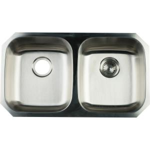 Glacier Bay Undermount Stainless Steel 32 in. Double Bowl Kitchen ...