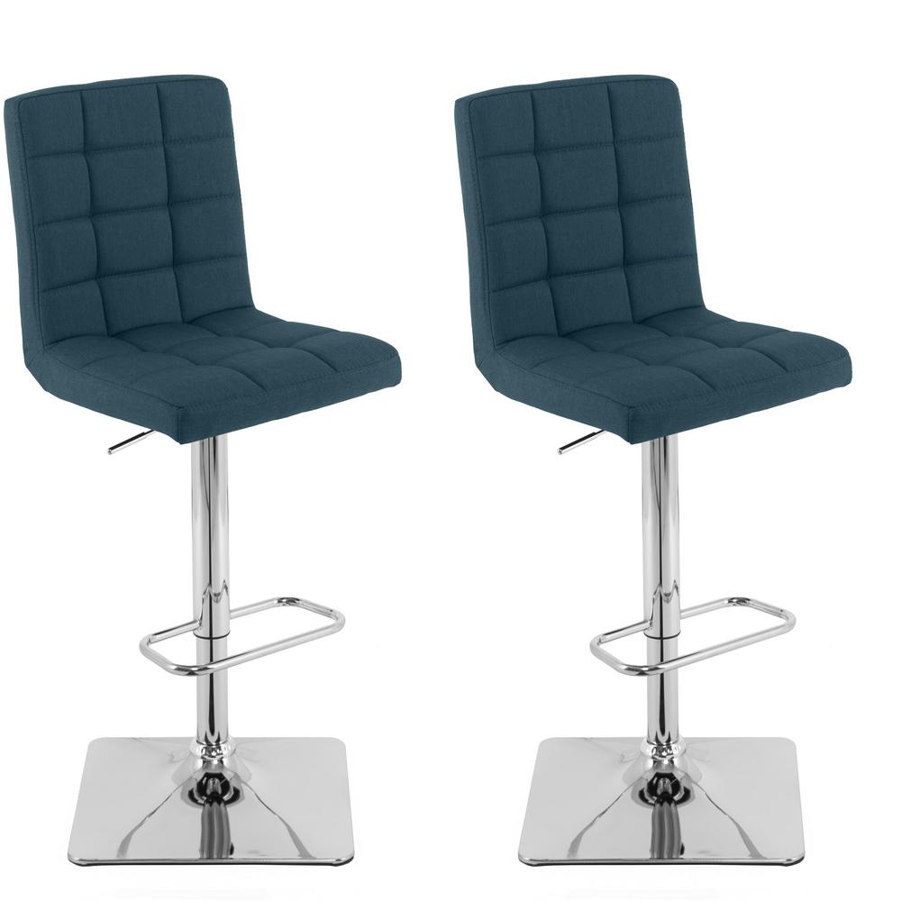 Corliving Adjule Height Dark Blue Square Tufted Fabric Bar Stool Set Of 2