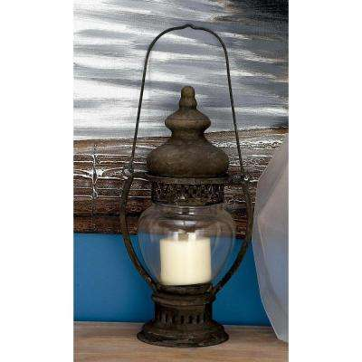 Rustic 14 in. Traditional Rusted Iron and Glass Candle Lantern