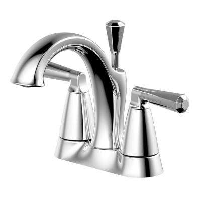 4 in. Centerset 2-Handle Bathroom Faucet with matching Pop-Up Assembly in Chrome