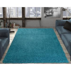 Ottomanson Contemporary Solid Blue 5 Ft X 7 Ft Shag Area