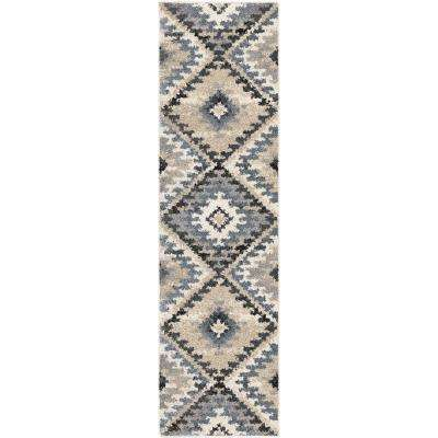 Modern Diamonds Muted Blue 2 ft. x 8 ft. Runner Rug