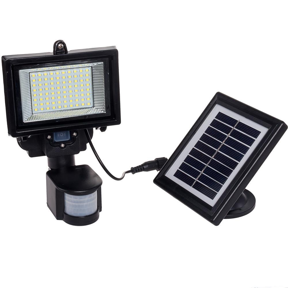 120-Degree Black Solar PIR Motion Sensor Outdoor Integrated LED Security Flood Light