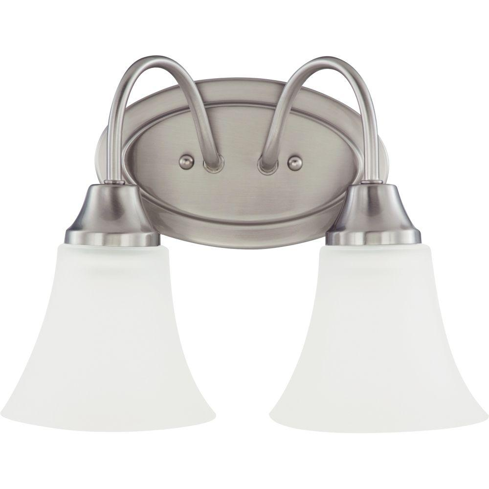 Sea Gull Lighting 44237 962 3 Light Brushed Nickel Bathroom Vanity Wall Fixture: Sea Gull Lighting Holman 2-Light Brushed Nickel Vanity Fixture-44806-962