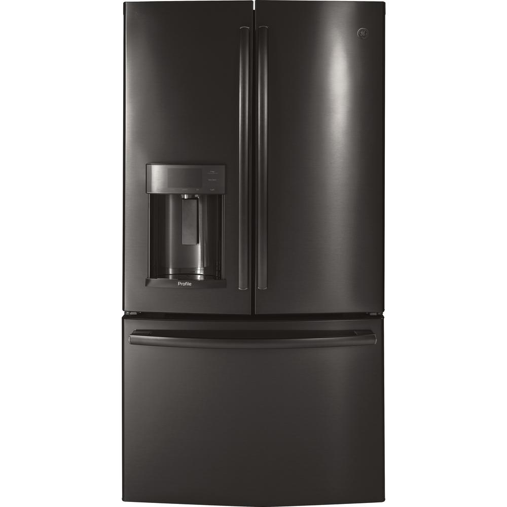 GE Profile 27.8 cu. ft. French Door Refrigerator with Hands-Free Autofill in Black Stainless Steel, Fingerprint Resistant