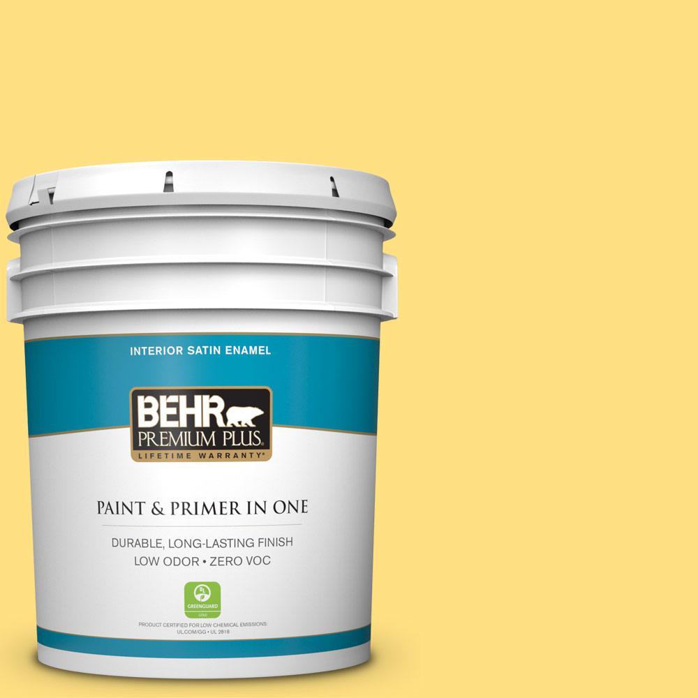 BEHR Premium Plus 5-gal. #370B-4 June Day Zero VOC Satin Enamel Interior Paint